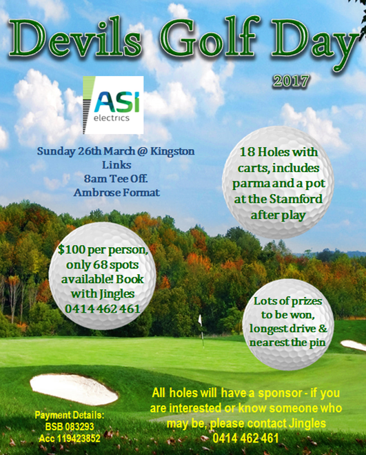 Devils Golf Day – Book now !